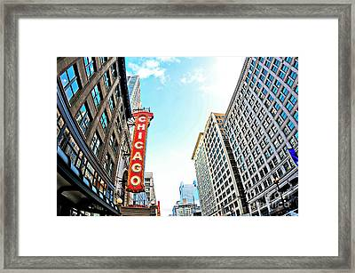Wide Angle Photo Of The Chicago Theatre Marquee And Buildings  Framed Print by Linda Matlow