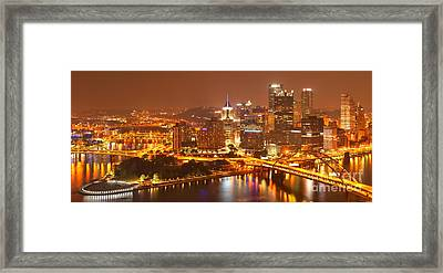 Wide Angle Pittsburgh Cityscape Framed Print by Adam Jewell