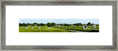 Wide Panorama Of Stone Circle Avebury Circle  Wiltshire Uk  Framed Print by Peter Noyce