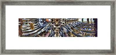 Wide Panorama Of The Interior Ceiling Of Sagrada Familia In Barcelona Framed Print
