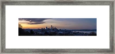 Wide Seattle Morning Skyline Framed Print by Mike Reid