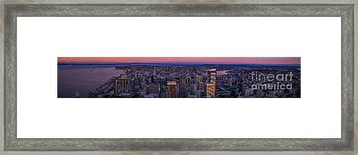 Wide Seattle Sunrise Cityscape Framed Print