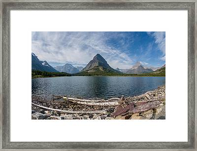 Wide View Of Swiftcurrent Lake Framed Print by Greg Nyquist