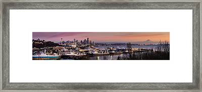 Wider Seattle Skyline And Rainier At Sunset From Magnolia Framed Print by Mike Reid