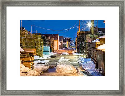 Widgery Wharf Blue Hour Framed Print by Benjamin Williamson