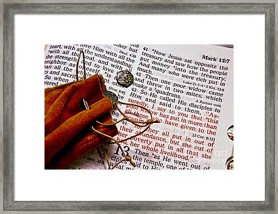 Widow's Mites And Scripture Framed Print