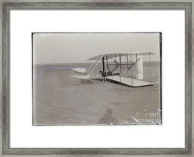 The Wright Brothers Wilbur In Prone Position In Damaged Machine Framed Print by R Muirhead Art