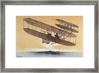 Wilbur Wright In His Flyer Framed Print by Leon Pousthomis