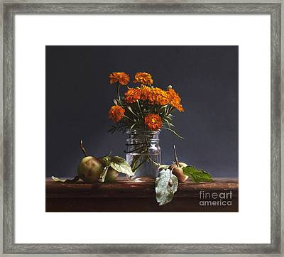 Wild Apples And Marigolds Framed Print by Larry Preston