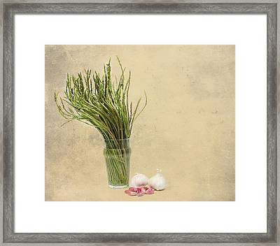 Wild Asparagus And Garlic Framed Print by Angela Bruno