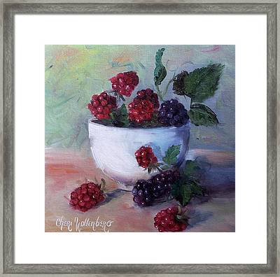 Framed Print featuring the painting Wild Blackberries by Cheri Wollenberg