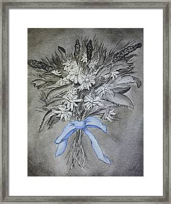 Framed Print featuring the painting Wild Blue Flowers by Kelly Mills