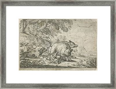 Wild Boar Hunt, Gillis Peeters I, Frans Snijders Framed Print by Gillis Peeters (i) And Frans Snijders And Jacques Van Merle
