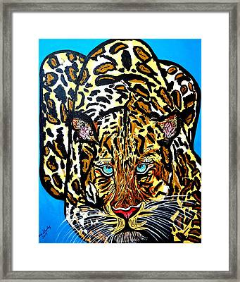 Framed Print featuring the painting Wild Cat by Nora Shepley