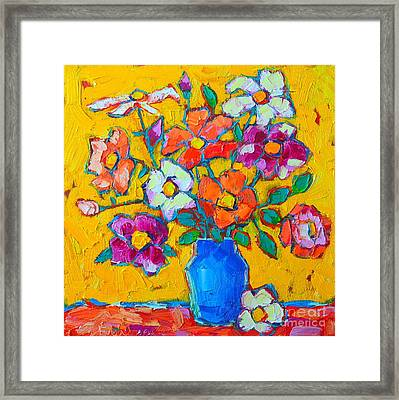 Wild Colorful Roses Framed Print by Ana Maria Edulescu