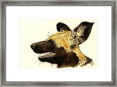 Wild Dog Lycaon Framed Print by Juan  Bosco