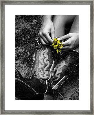 Wild Flower Boots Framed Print by Kristie  Bonnewell