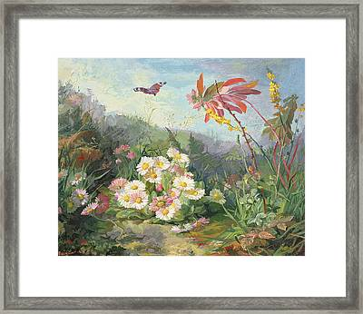 Wild Flowers And Butterfly Framed Print