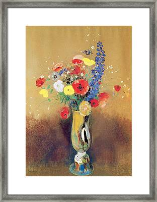 Wild Flowers In A Long-necked Vase Framed Print by Odilon Redon