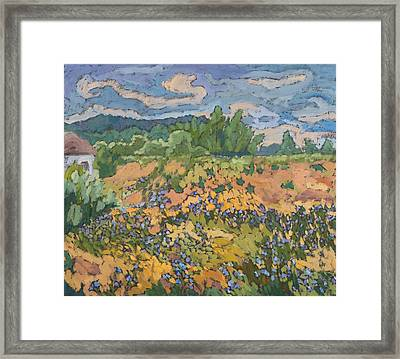 Wild Flowers On The Dyke Bank  Framed Print by Marta Martonfi Benke