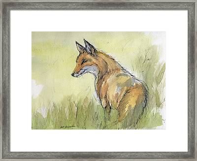 Wild Fox Watercolor Painting Framed Print by Angel  Tarantella