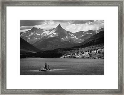 Wild Goose Island Glacier National Park Bw Framed Print