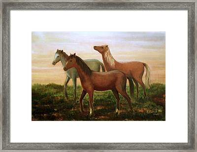 Framed Print featuring the painting Wild Horses At Sunset by Laila Awad Jamaleldin