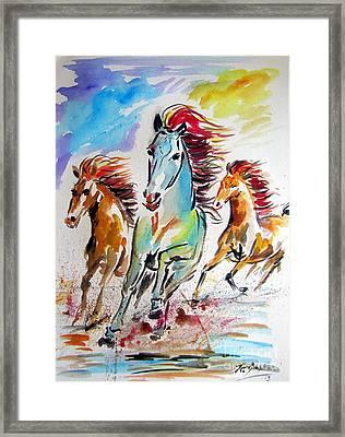 Wild Horses Running Framed Print