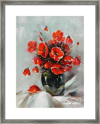 Wild Poppies Bouquet Framed Print by Petrica Sincu