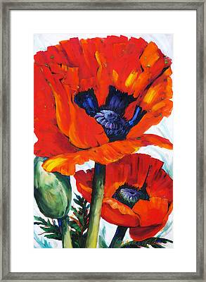 Wild Poppies - Floral Art By Betty Cummings Framed Print