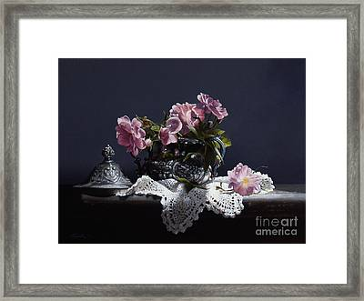 Wild Roses In Silver Framed Print by Larry Preston