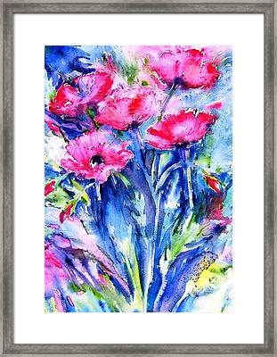Wild Scarlet Poppies  Framed Print by Trudi Doyle