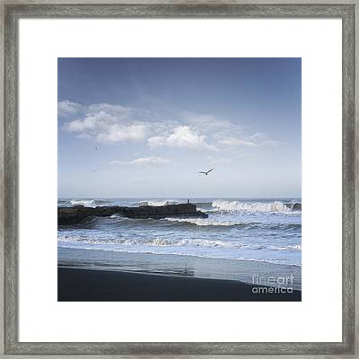 Wild Seascape With Old Jetty And Seagulls Overhead  Framed Print by Colin and Linda McKie