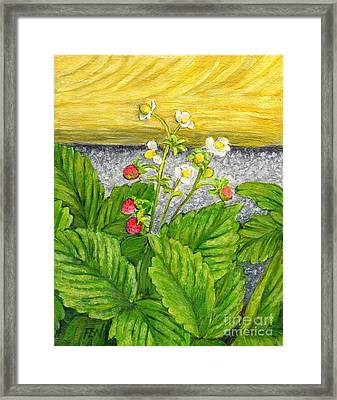 Framed Print featuring the painting Wild Strawberries In Summer by Jingfen Hwu