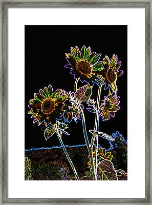 Wild Sunflowers Stylized Framed Print by Scott Campbell