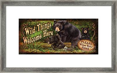 Wild Things Bear Framed Print by Lucia Guarnotta