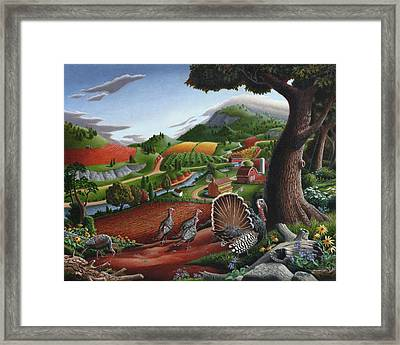 Wild Turkeys Appalachian Thanksgiving Landscape - Childhood Memories - Country Life - Americana Framed Print by Walt Curlee