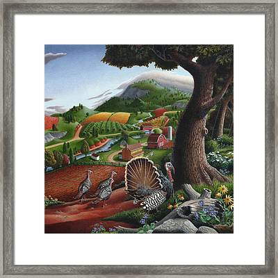 Wild Turkeys In The Hills Country Landscape - Square Format Framed Print by Walt Curlee