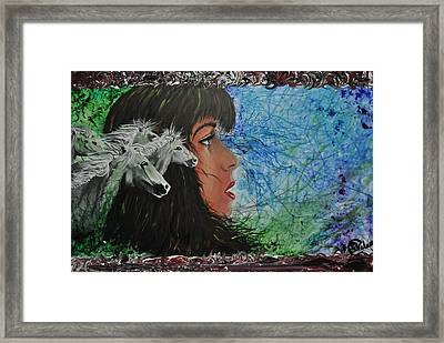 Wild With The Horses Framed Print by Stefanie M Valverde