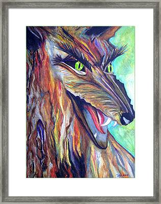 Framed Print featuring the drawing Wild Wolf by Daniel Janda