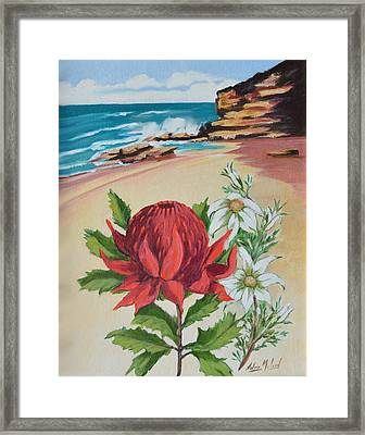 Wildflowers And Headland Framed Print by Aileen McLeod