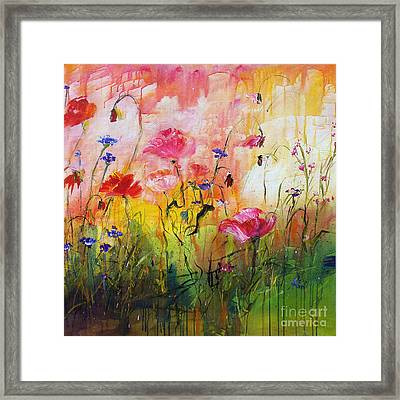 Wildflowers And Pink Poppies Framed Print
