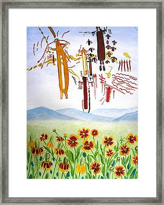 Wildflowers And Rock Art At Halo Shelter  Framed Print