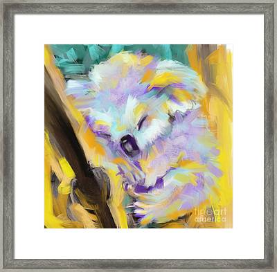 Wildlife Cuddle Koala Framed Print by Go Van Kampen