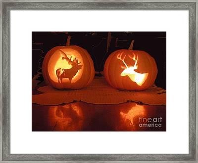 Wildlife Halloween Pumpkin Carving Framed Print