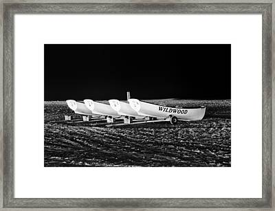 Wildwood Lifeboats At Night In Black And White Framed Print