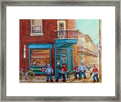 Wilensky Montreal-fairmount And Clark-montreal City Scene Painting Framed Print by Carole Spandau