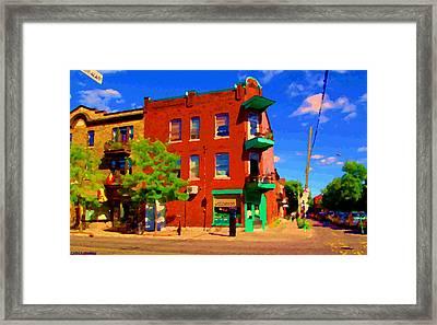Wilenskys Deli Light Lunch Famous Sandwich Coffee Shop Art Of Montreal Street Scene Carole Spandau Framed Print by Carole Spandau