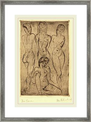 Wilhelm Lehmbruck, Four Women Three Standing, One Sitting Framed Print by Litz Collection