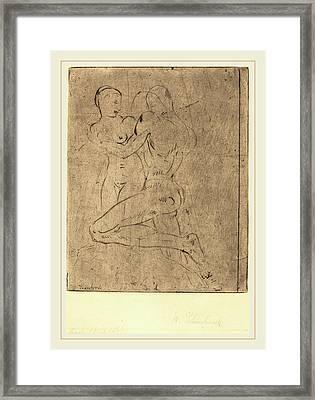 Wilhelm Lehmbruck, Rape II Raub II, Weib Halb Framed Print by Litz Collection